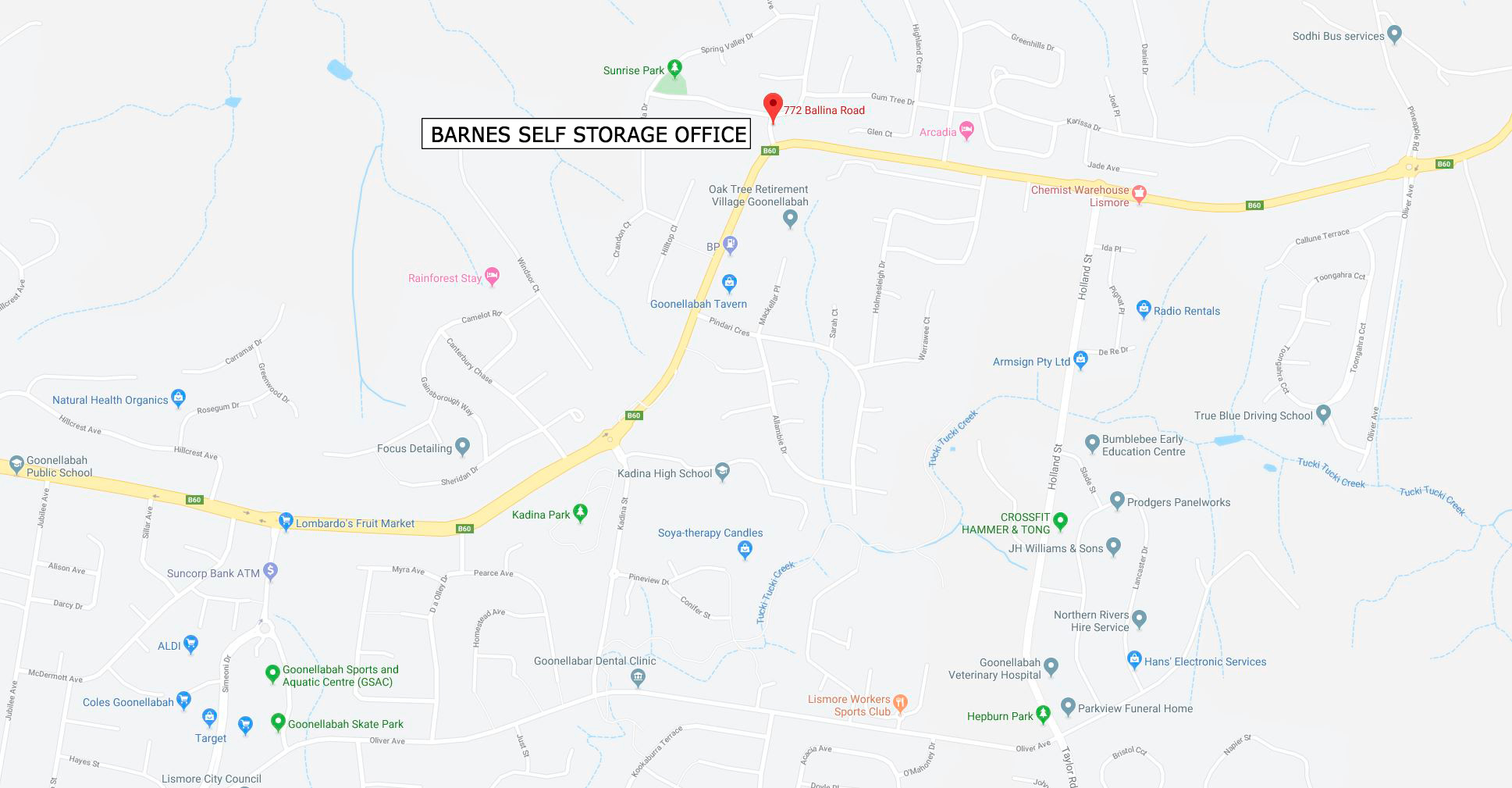 Barnes Self Storage Office NSW - Location Map